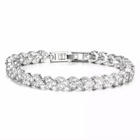 Swarovski Elements Crystal Heart Tennis Bracelet